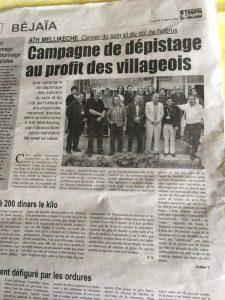 Article du journal La Depeche de Kabylie
